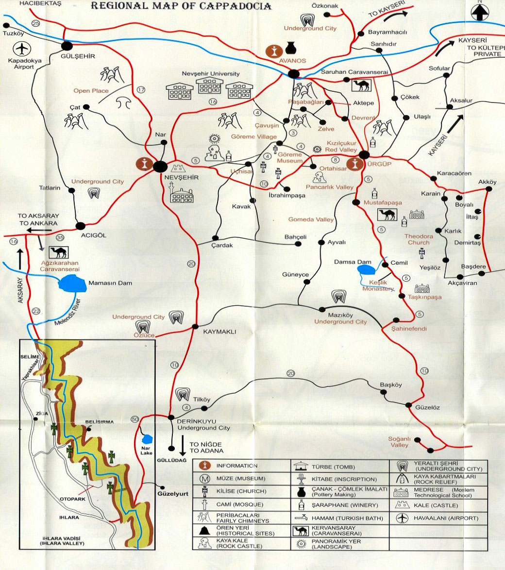 Cappadocia Turkey Map on